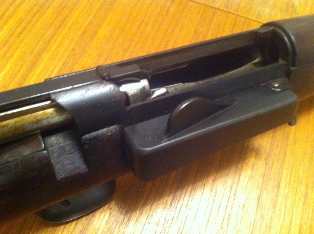 Krag action, magazine closed, bolt open