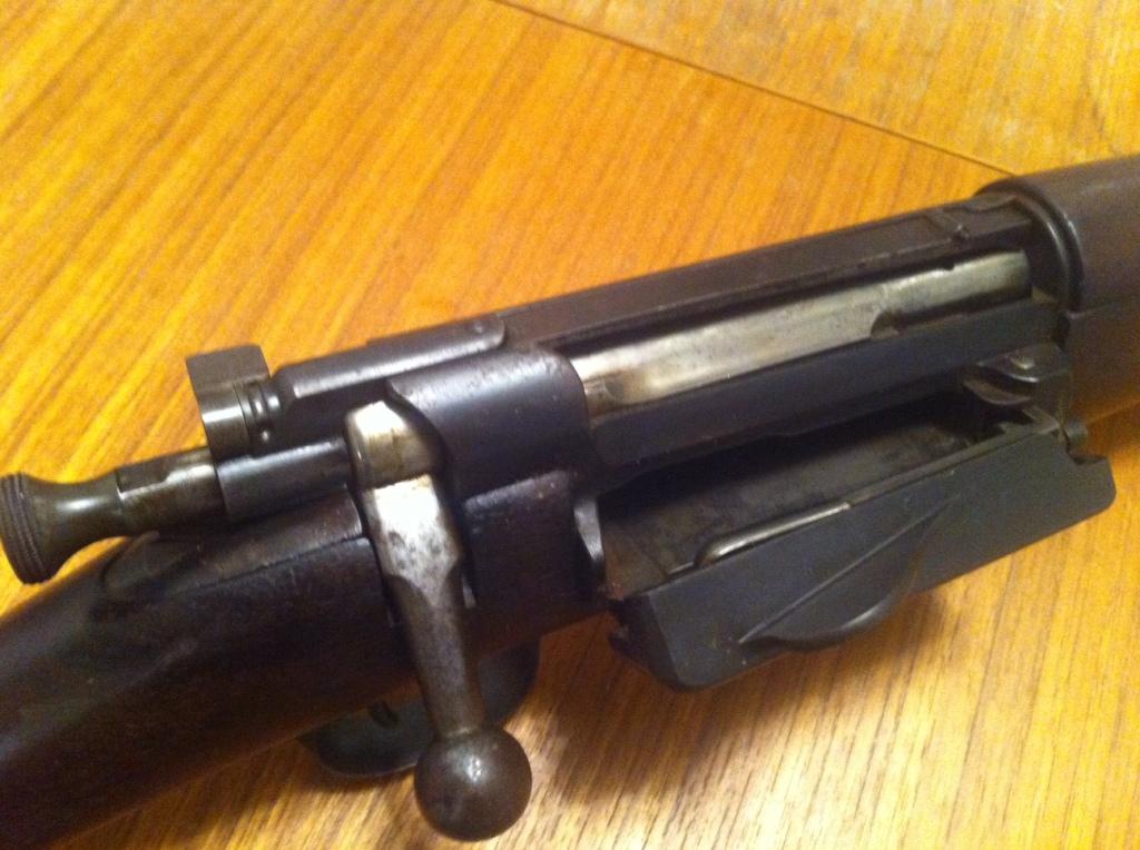Krag action, magazine open, bolt closed